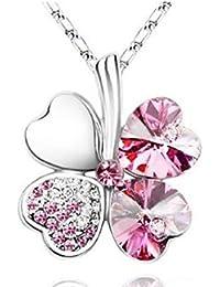 Exquisite Kristall Four Leaf Clover Flower Herz-Anhänger Silber Halskette Kette mit österreichischen Kristallen Pink Rosa