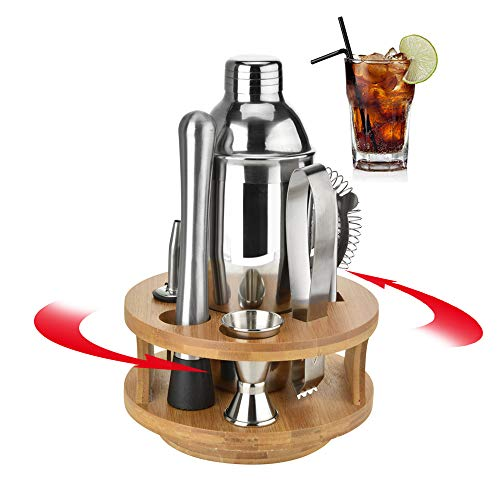Lolypot 10-Teiliges Edelstahl Cocktailshaker Cocktail Shaker Set mit 360 Grad Drehbarer Bambus Basis, Rotierenden Cocktail Set Cocktail Mixer Bar Kit, 550ml Cocktailshaker