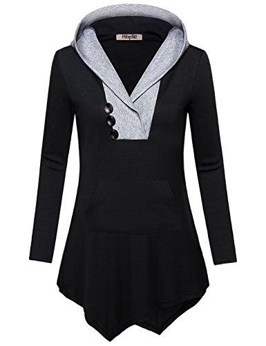 Langarm-hoodie Tunika (Kapuzenpulli Damen Schwarz,Hibelle Junioren V-Ausschnitt Oversized Asymmetrische Unisex Baumwolle Langarm Tunika Hoodie Stricken Känguru Shirt 2-Tone lustige Drape Top und Blusen XL)