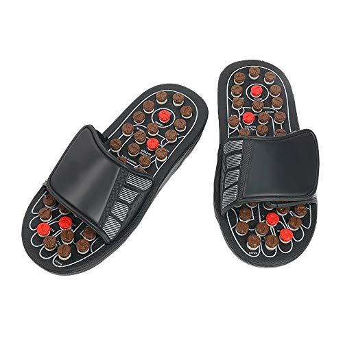 Liberación de ambos pies Acupresión Masaje Zapatilla Masajeador de pies Piedra de jade Zapatillas de masaje de punto de acupuntura Sandalias de reflexología para hombres Mujeres Negro S / M / L / XL E