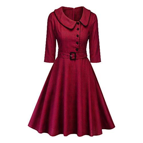 XuxMim Damen Rockabilly Kleid Knielang Vintage Retro Kleider Faltenrock CL698(Wein-2,X-Large) (Pacman Kostüm Frauen)