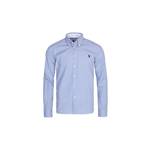 U.S. Polo Assn. Hemd für Männer – Business Hemd für Ihn – Herren Langarm Button Down Hemd – Für die Arbeit oder Freizeit – Auf die Jeans oder den Anzug (Weiß-Blau Kariert, M)