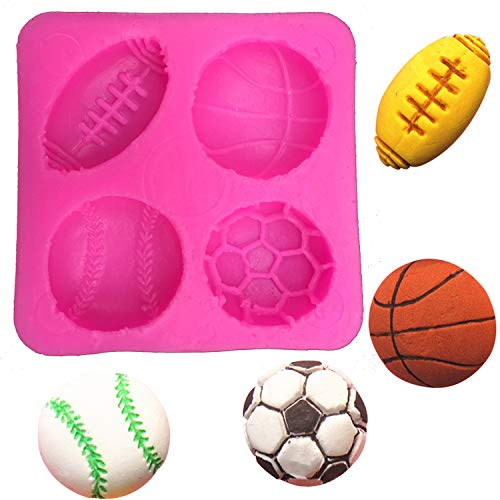 Fußball Basketball Tennis Fondant Silikonform für die Küche Schokolade Gebäck Süßigkeiten Ton machen Kuchendekorationswerkzeuge FT 0149