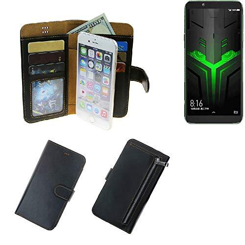 K-S-Trade® Für Xiaomi Blackshark Helo Portemonnaie Schutz Hülle Schwarz Aus Kunstleder Walletcase Smartphone Tasche Für Xiaomi Blackshark Helo - Vollwertige Geldbörse Mit Handyschutz