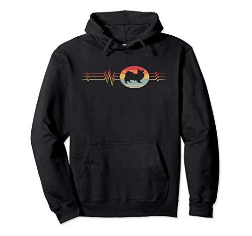 Retro Heartbeat Papillon Dog Lifeline Vintage Animal Gift Pullover Hoodie Papillon T-shirt Sweatshirt