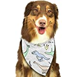 Sdltkhy Pet Bandana Funny Dinosaur Party Colorful Washable and Adjustable Triangle Bibs for Pet Cats and Puppies