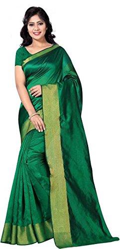 Vimalnath Synthetics Solid Fashion Cotton Saree (Green)