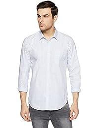 Peter England Men's Checkered Slim Fit Cotton Formal Shirt