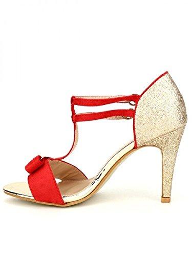 Cendriyon, Escarpin Red et Doré WEIDES Chaussures Femme Rouge