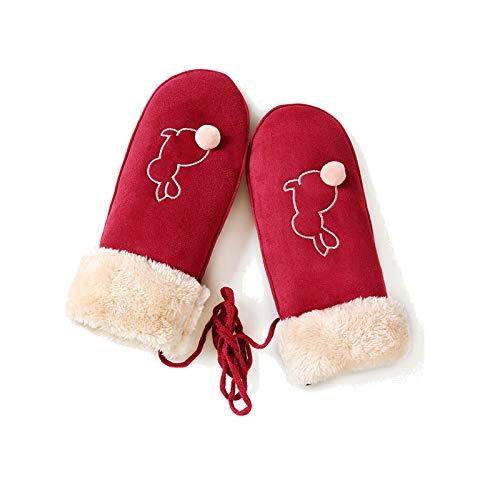Gnzoe Warm Laufhandschuhe Damen Winter Wildleder Stoff Warm Winddicht Venonat Handschuhe Rot One ()