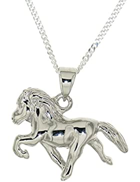 Derby Anhänger Isländer Island-Pferd mit Kette beim Tölt Sonderpreis Sterling-Silber 925 - 23823