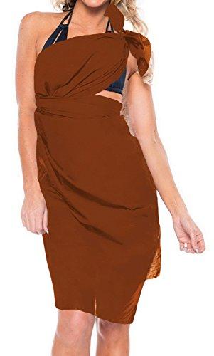 La Leela rayon solido costume da bagno cucita sarong coprire pareo 78x39 pollici scuro Marrone