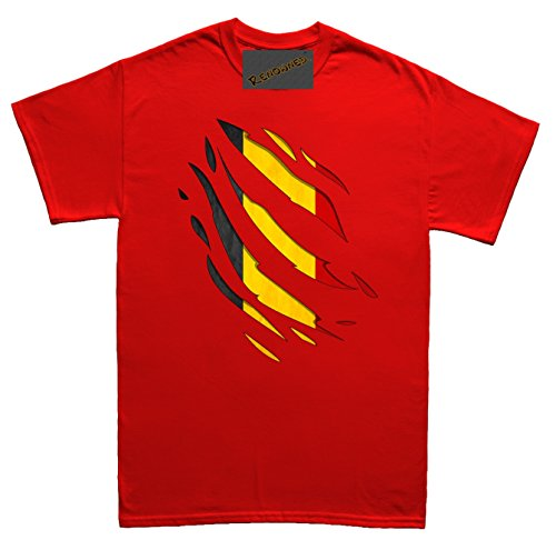 Renowned Belgium Flag Inside Under Torn Ripped Unisex - Kinder T Shirt Rot