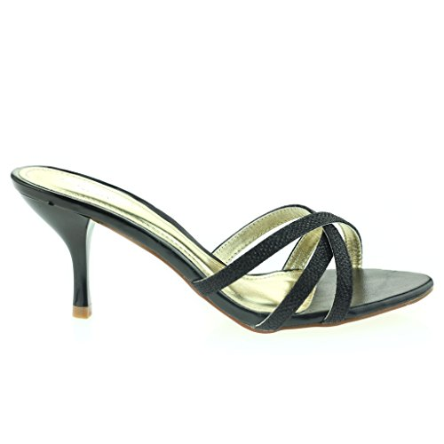 Femmes Dames Crossover à Lanières Enfiler Svelte Talon Moyen Soir Fête Mariage Bal de Promo Des Sandales Chaussures Taille Noir