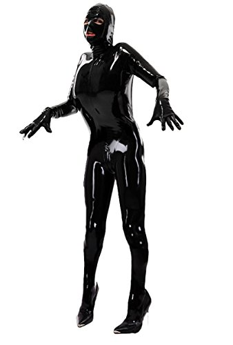 Anzug Body Latex Kostüm - Queenshiny Ganzkörperanzug Anzug Suit Kostüm schwarz XL