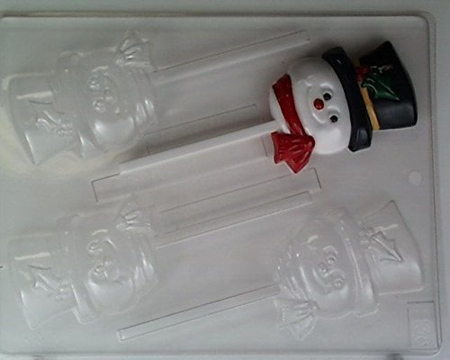Cute snowman face w/ top- hat & scarf Lollipop C138 Christmas Chocolate Candy Mold by Concepts in Candy