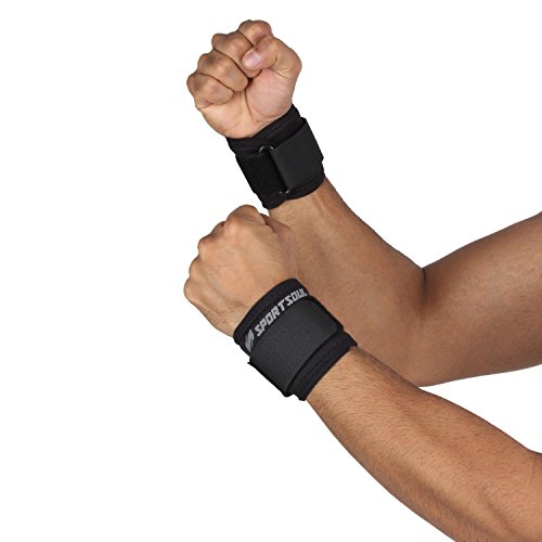 SportSoul WS1P Wrist Support, Free Size Pack of 2 (Black)
