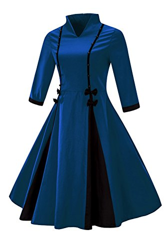 Robe Femme Vintage Swing Plissée Col V Manche 3/4 Impression Jointif Style Oriental Pin up Grande Taille en Coton avec Nœud de Papillon par MisShow Bleu Marine