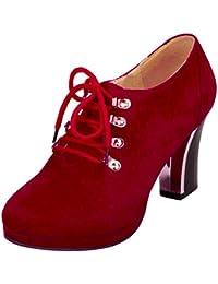 Aicciaizzi Mujer Tacon Alto Zapatos Cordones Botines