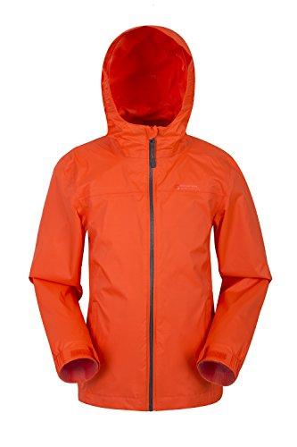 Mountain Warehouse Torrent wasserdichte Kinderjacke - versiegelte Nähte, Reißverschlusstaschen, verstellbare Funktionen - ideal zum Reisen, Campen, Wandern, Frühling Orange 98 (2-3 Jahre) (Herren Orange Regen Jacke)