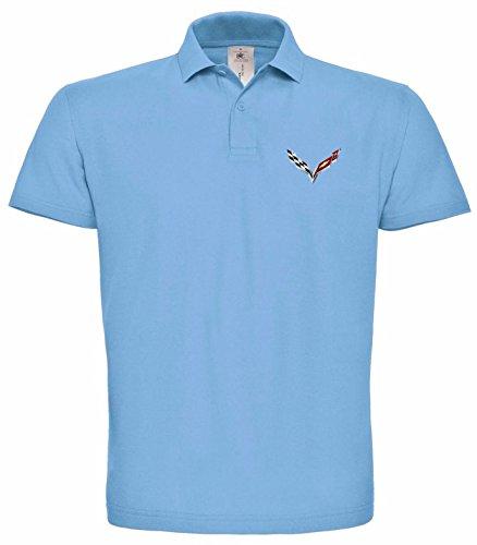 avstickerei Chevrolet Corvette Logo GM bestickte Polo Poloshirt, verschiedene Farben, super Premium-Qualität, hochwertige Stickerei (M, Blau)