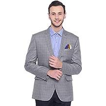 ManQ Men's Slim Fit Formal/Party Check Blazer