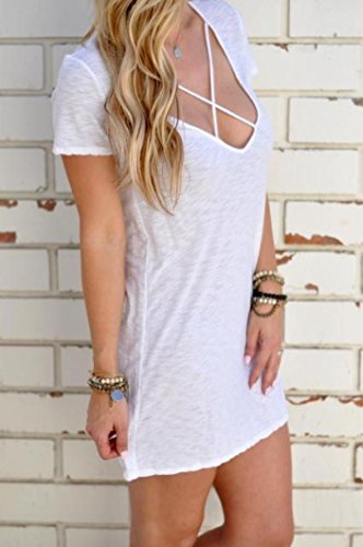 ... Sannysis Damen Short Sleeve V-Ausschnitt Minikleid Weiß ...