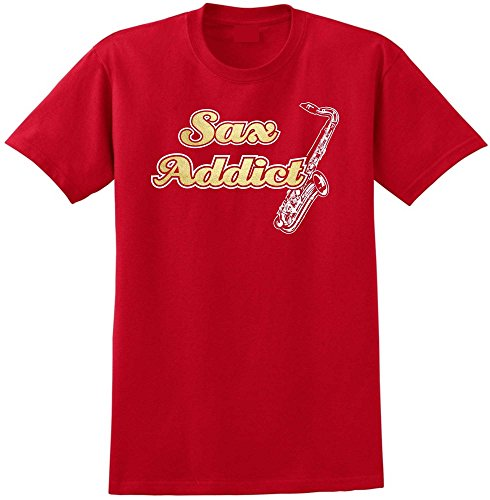 Saxophone Sax Tenor Sax Addict - Red Rot T Shirt Größe 87cm 36in Small MusicaliTee