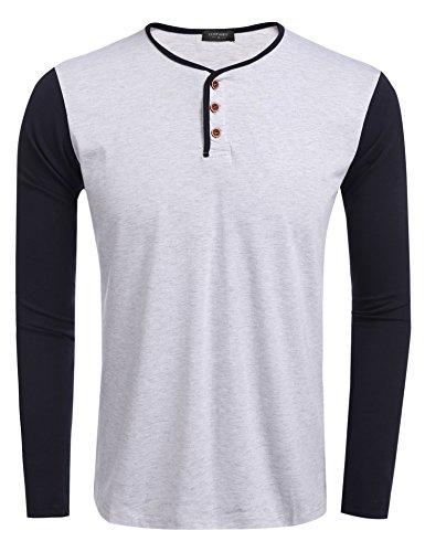 Coofandy Herren Langarmshirt Sweatshirt Longsleeve Pullover Rundhals T-shirts Hellgrau