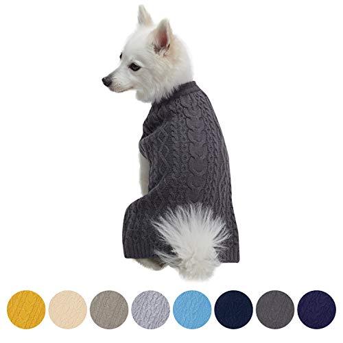 Blueberry Pet Meisterhaftes Klassisches Zopfmuster Rauch grau Hundepulli, Rückenlänge 30cm, Einzelpackung Hundebekleidung