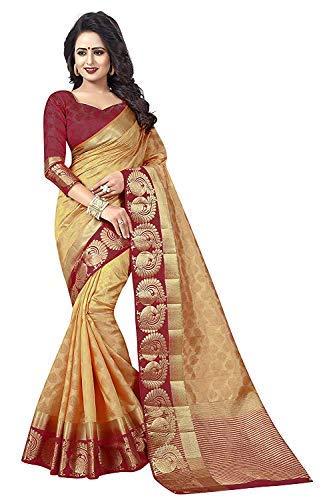 C J Enterprise Women's Cotton Silk sarees With Blouse Piece (Chiku Wine)