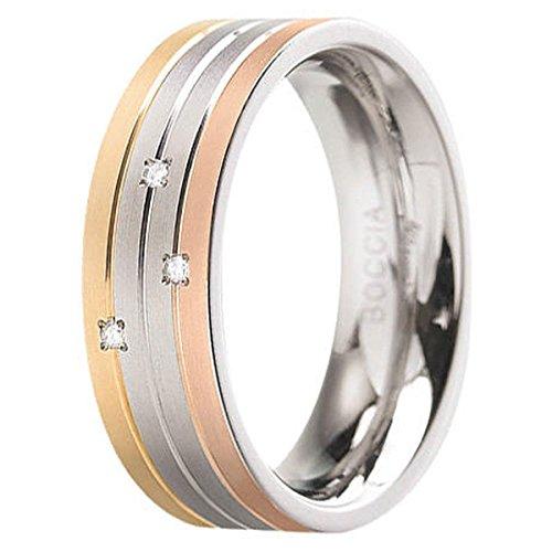 Boccia Unisex-Ring Titan Diamant (0.015 ct) Transparent Brillantschliff Gr. 72 (22.9) - 0135-0272