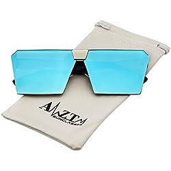AMZTM Mode Platz Verspiegelt Linsen Groß Metall Polarisiert Eisblau Sonnenbrille für Damen und Herren