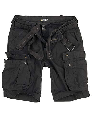 riverso Herren Cargo Shorts Fynn Kurze Hose Vintage Bermuda mit Gürtel S - 7XL aus 100% Baumwolle, Größe:6XL, Farbe:Schwarz (63) (30w Kurze)