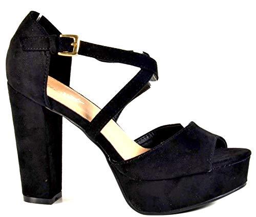 Damen Riemchen Abend Sandaletten High Heels Pumps Slingbacks Velours Peep Toes Party Schuhe Bequem B67 (40, Schwarz) Block Heel Slingback Pump