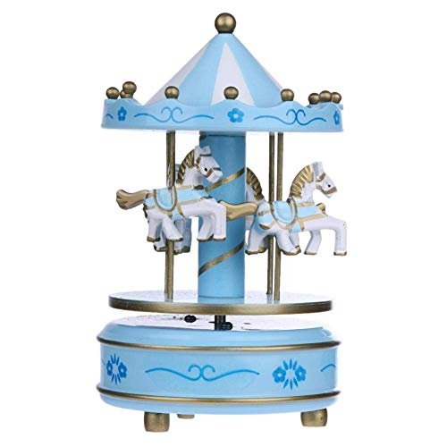 sic Box, Creative Merry-Go-Round Music Box Wood Horse Musical Case Ornament Gifts Carousel ()
