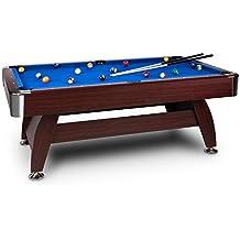 oneConcept Brighton • mesa de billar • mesa de pool • madera DM • chapa de cerezo • recubrimiento azul • 16 bolas de plástico • 2 tacos • triángulo • cepillo • 2 x tizas • altura ajustable • marrón