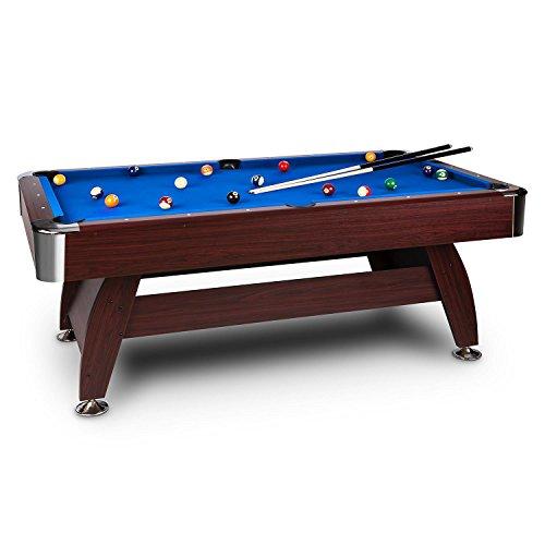 oneConcept Brighton tavolo da biliardo legno MDF venature legno di ciliegio rivestimento blu 16 palle 2 stecche triangolo spazzola 2x gessi regolabile protezione angoli marrone
