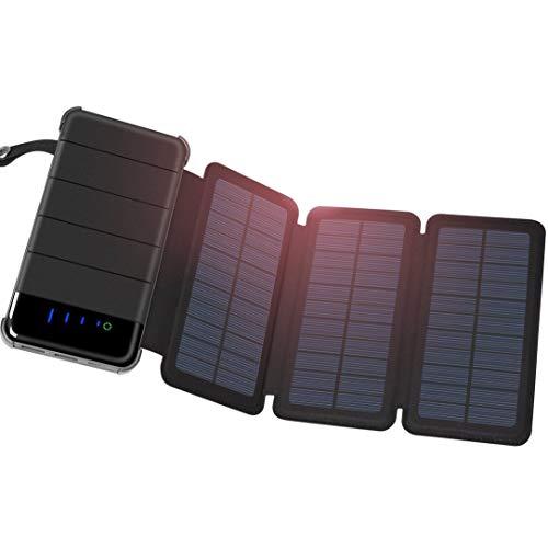Monllack solar charger 30000mah, pieghevole portatile 3 pannelli solari di sostegno esterno del caricabatteria, per l'escursionismo, arrampicata, il campeggio e altre attività all'aperto
