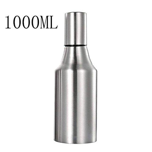 CLLCR Würzflasche 304Edelstahl Öltöpfe, Anti-Leck Ölflaschen, Soja-Sauce Flaschen, Continental Kreative Essig-Flaschen, Würzflaschen, Küche liefert,1000ML Continental-sauce