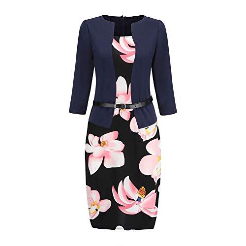 Huaheng Damen Büro Arbeit Formelle Bodycon-Kleid Mantel Bleistift Kleider mit Gürtel – Marineblau, 2XL
