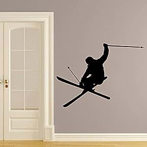 Sticker Mural Autocollant De Vinyle Stickers Art Intérieure Décor Murale Ski Skieur neige Skier Ski Freestyle Saut Extrême Sport Hiver Cadeau Enfants An436