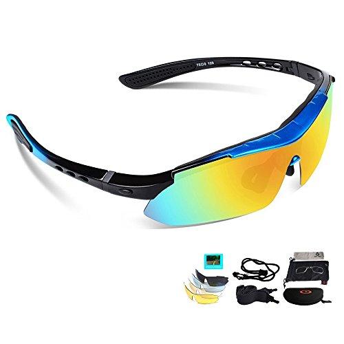 Unisex Radbrille Sportbrille Sonnenbrille, UV-Schutz, 5 Wechselgläser inkl. Schwarze polarisierte Linse, für Outdooraktivitäten wie Radfahren Laufen Klettern usw. (Blau)