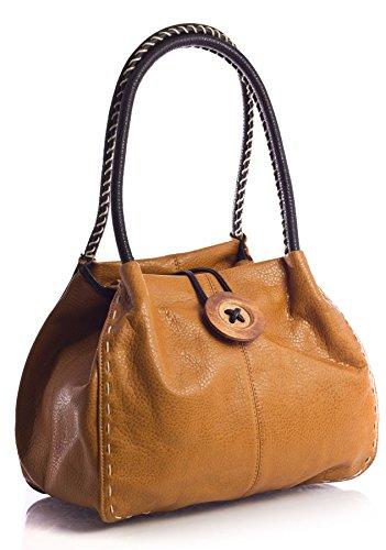 Big Handbag Shop, Borsa a spalla donna One Marrone (Light Tan)