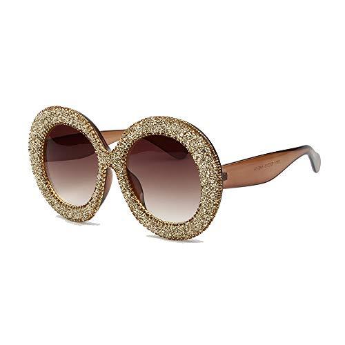 WJFDSGYG Übergroße Sonnenbrille Frauen Strass Sonnenbrille Round Frame Gradient Mirror Shades Für Frauen Oculos