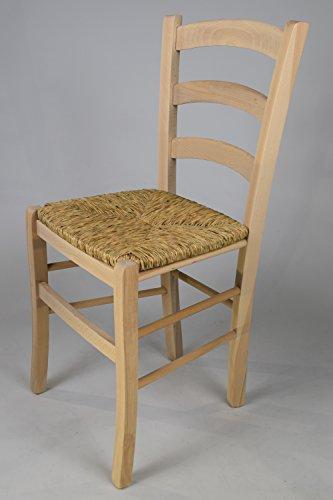 Set 2 sedie cucina e sala da pranzo dallo stile classico, con robusta struttura in legno di faggio levigato, non trattato, 100% naturale e con seduta in paglia. set venezia 38 by tommychairs, sedie di design.