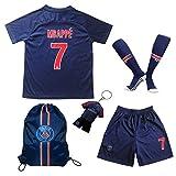 2018/2019 Paris #7 MBAPPE Heim Kinder Fußball Trikot Hose und Socken Kindergrößen (26 (9-10 Jahre))