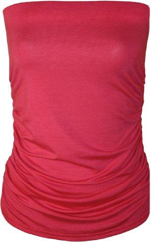 WearAll - Uni bustier bandeau top ruché sans bretelles - Hauts - Femmes - Tailles 36 à 42 Cerise