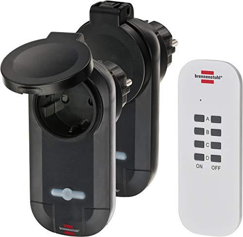 Brennenstuhl Funkschalt-Set RC CE1 0201 (2er Funksteckdosen Set, Außenbereich IP44, mit Handsender und Kindersicherung) schwarz