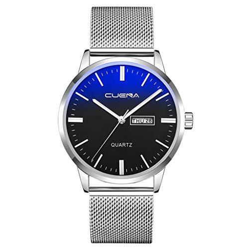 Clacce Herren Uhr Edelstahl Automatik Einfache Schwarze Uhr Bauhaus-Stil Mode Minimalistische Armbanduhr Mechanisch für Männer mit Milanaise-Armband Mit Kalender